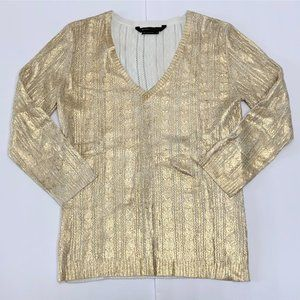 NWOT BCBG Maxazria Gold Knit Top V Neck Sweater M